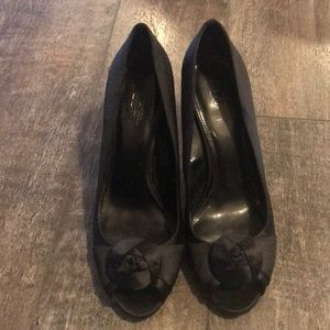 New Loft Black Peep Toe Pumps - Size 10
